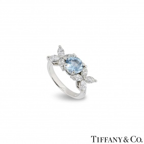 Tiffany & Co. Diamond & Aquamarine Victoria Ring